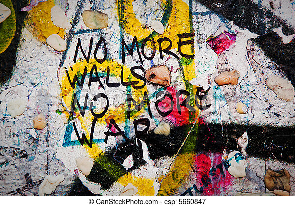 Part of Berlin Wall with graffiti and chewing gums - csp15660847