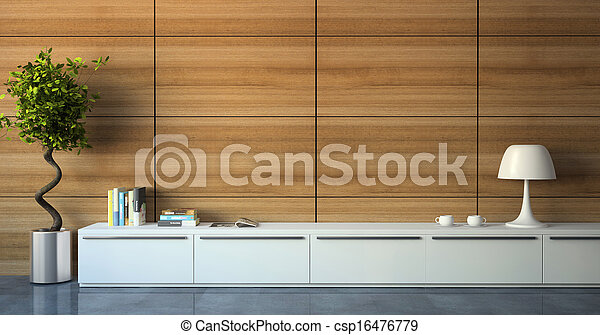Part of modern interior with wood wall - csp16476779