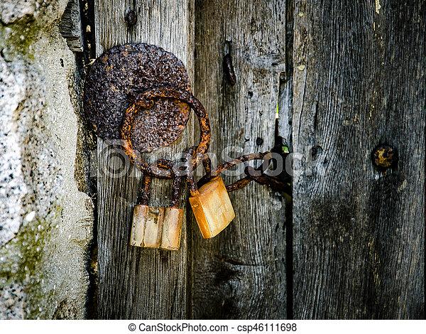 part of old wooden door - csp46111698