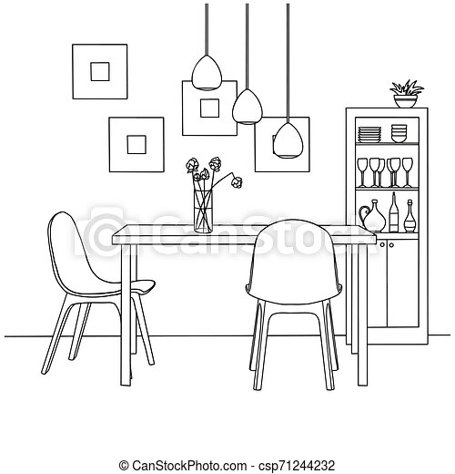Part Of The Dining Room On The Table Vase Of Flowers Lamps Hang Over The Table Hand Drawn Sketch Vector Illustration Canstock