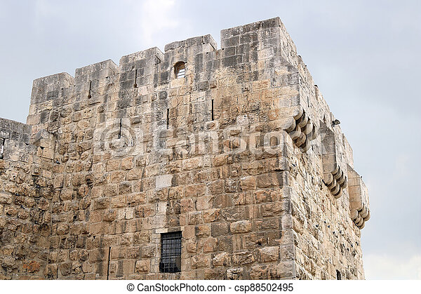 Part of the Jaffa Gate structure in The Old City of Jerusalem, Israel - csp88502495