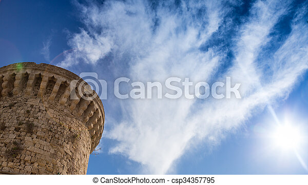 Part of tower against sky, Rhodes Greece - csp34357795