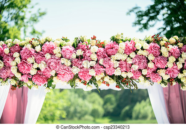 Part of wedding arch with pink and white flowers part of wedding arch csp23340213 mightylinksfo