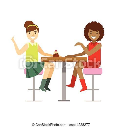 partage, bavarder, dessert, petites amies, gâteau, personne, vecteur, illustration, doux, sourire, café, avoir, patisserie - csp44238277