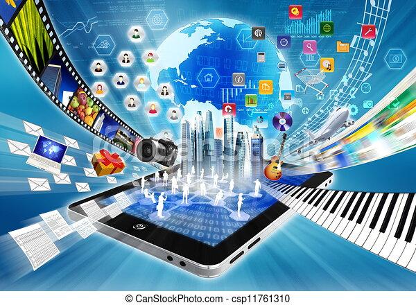 partage, concept, multimédia, internet - csp11761310