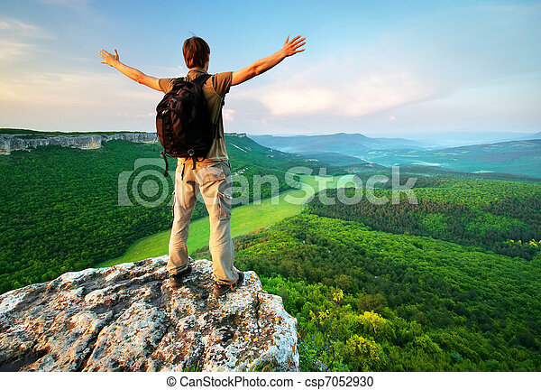 parte superiore montagna, uomo - csp7052930