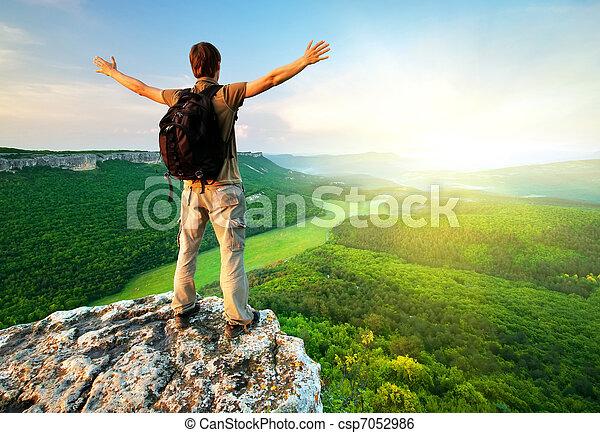 parte superiore montagna, uomo - csp7052986