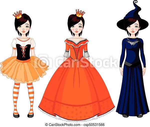 Partei mädchen, halloween, kleidet. Puppe, halloween, drei ...