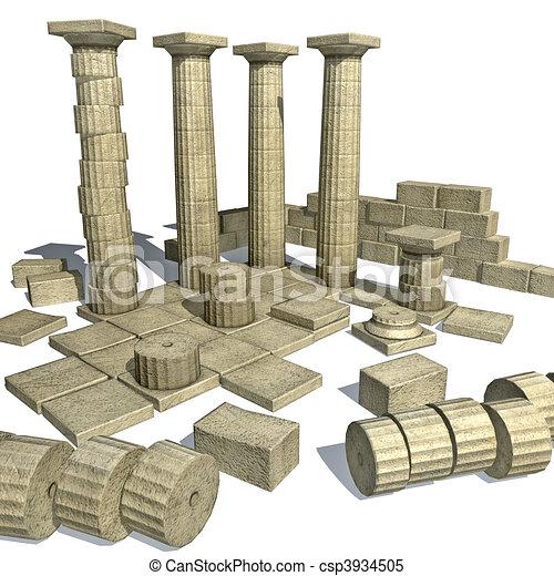 parth, grec, ruines, render, 3d - csp3934505