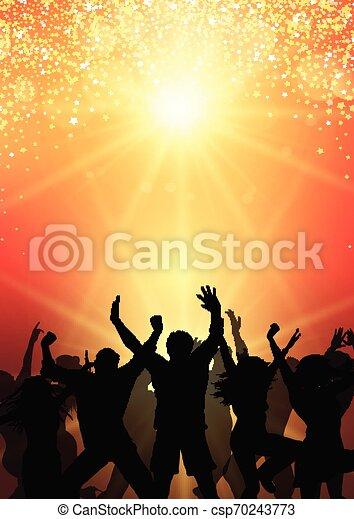 parti, bakgrund, 0504, folkmassa, sunburst - csp70243773
