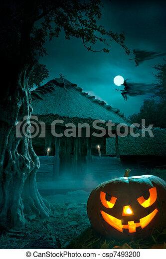 parti, halloween, bakgrund, natt - csp7493200