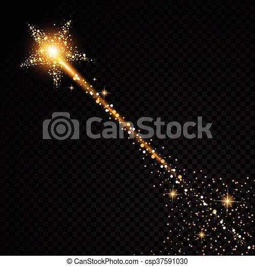 particules, mode, étoile, illustration., or, espace, tail., étincelant, transparent, charme, arrière-plan., vecteur, poussière, comète, piste, scintillement - csp37591030