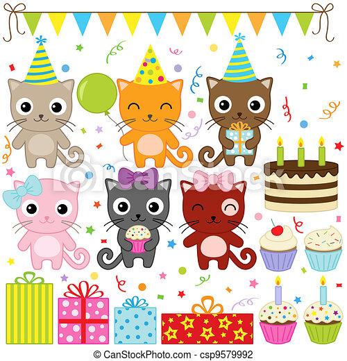 partido, aniversário, gatos - csp9579992