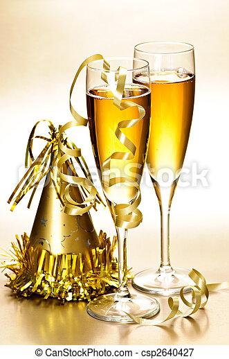 partido, champanhe, novo, decorações, anos - csp2640427