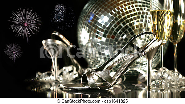 partido, champanhe, sapatos, óculos, prata - csp1641825