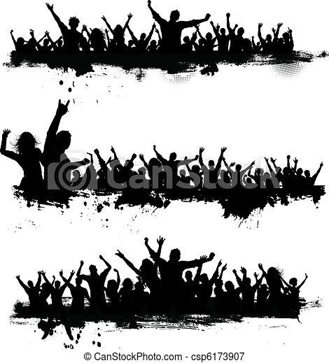 partido, grunge, multidões - csp6173907