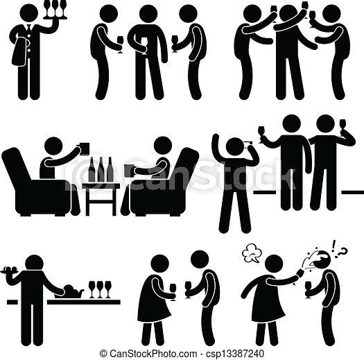 partido, pessoas, coquetel, amigo, homem - csp13387240