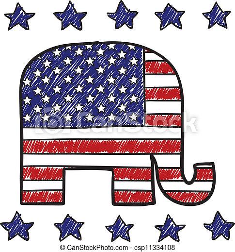 partido, republicano, esboço, elefante - csp11334108