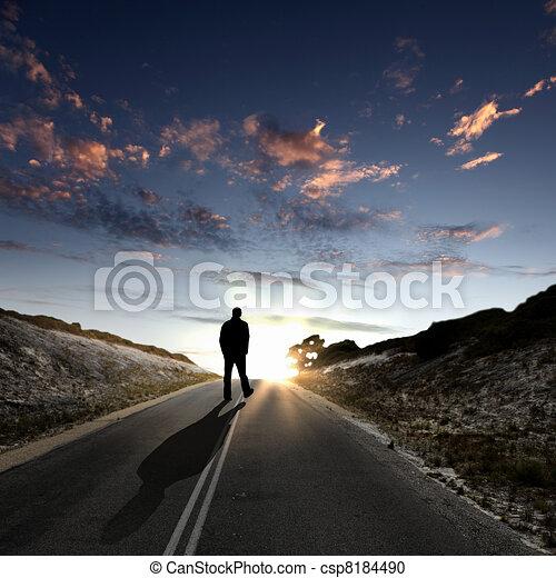 partir, long, aube, route, homme - csp8184490