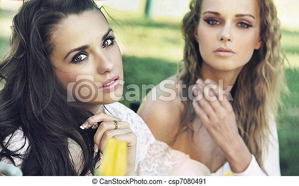 partir, senhoras, dois, coffe - csp7080491