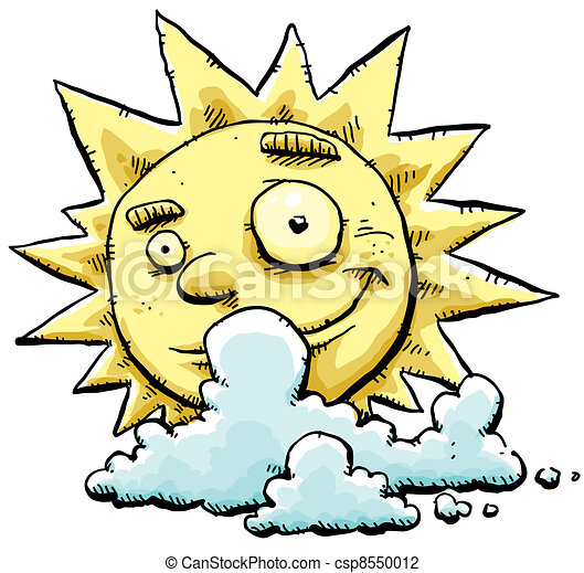partly cloudy the sun peeks out from behind some cool clip art rh canstockphoto com partly cloudy weather clipart Cartoon Sun and Clouds