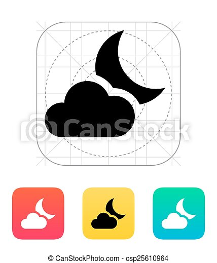 partly cloudy night icon vector illustration clip art vector rh canstockphoto com partly cloudy clipart free partly cloudy clipart black and white
