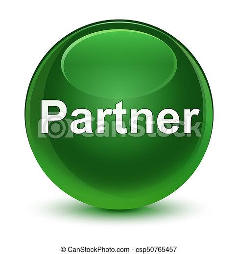 Partner glassy soft green round button - csp50765457