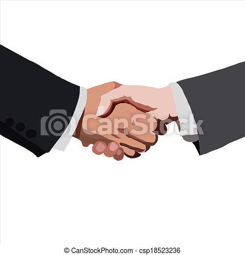 partnership., ベクトル, illustration., スケッチ, handshake. - csp18523236