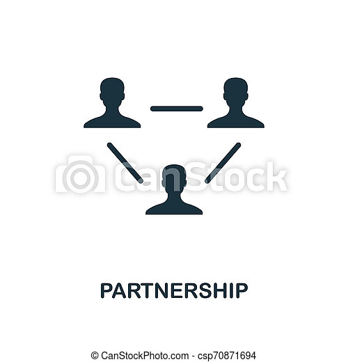 Partnership icon. Monochrome style design from business icon collection. UI. Pixel perfect simple pictogram partnership icon. Web design, apps, software, print usage. - csp70871694