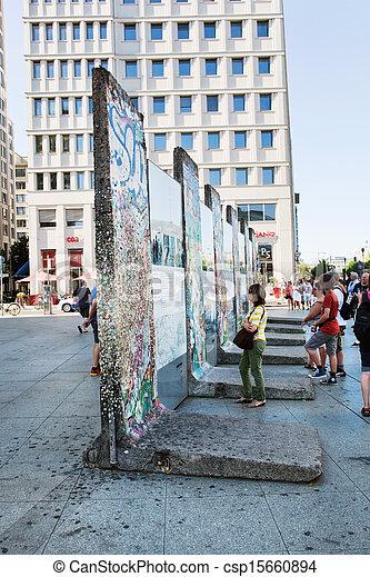 Parts of Berlin Wall on Potsdamer Platz. Berlin, Germany - csp15660894
