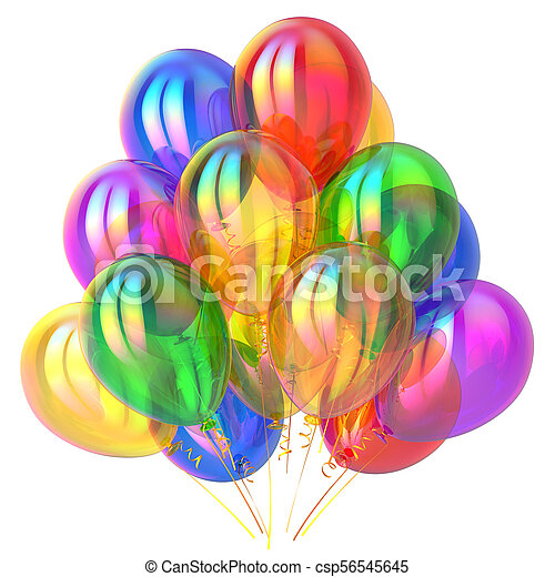 Party balloons birthday decoration multicolored glossy - csp56545645