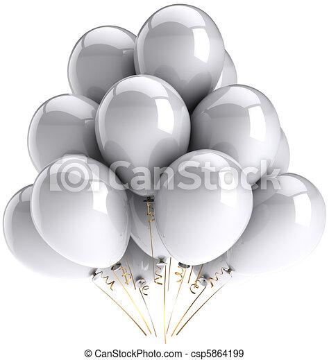 Party balloons total white - csp5864199