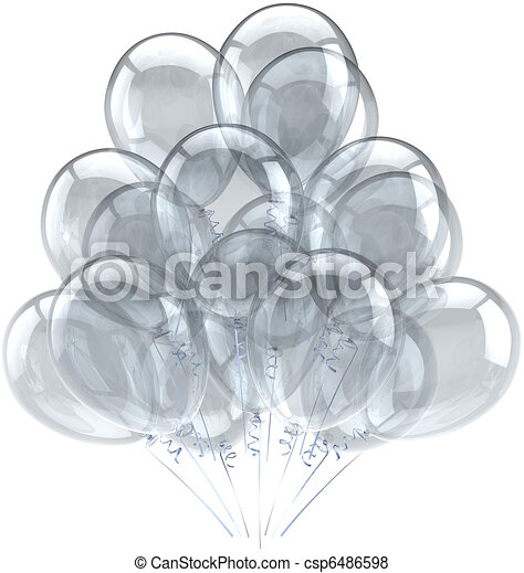 Party balloons white translucent - csp6486598