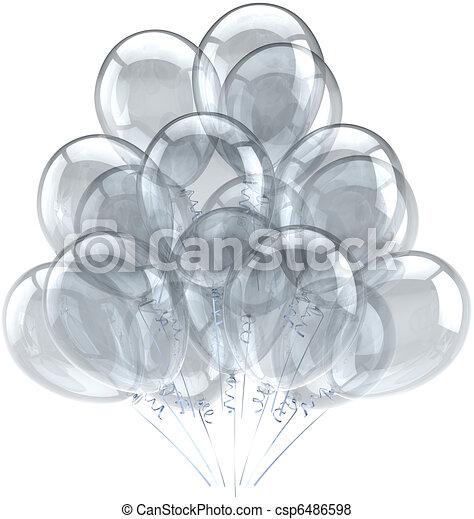 Party balloons white translucent - csp6486598