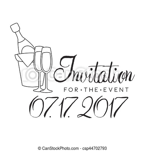 Party black and white invitation card design template with ...