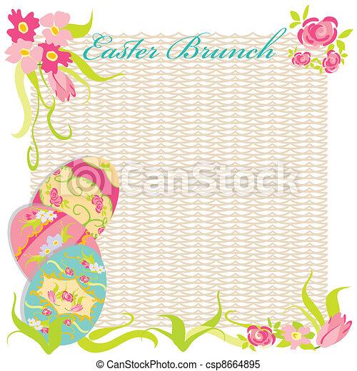 Party Brunch Ostern Einladung Gemalt Stil Blume Clipart