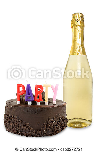 Party Cake And Champagne