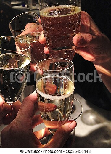party Champagne glasses clinking celebrate - csp35458443