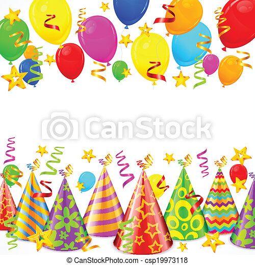 Party Decorations Hats Serpentines Balloons And Vector