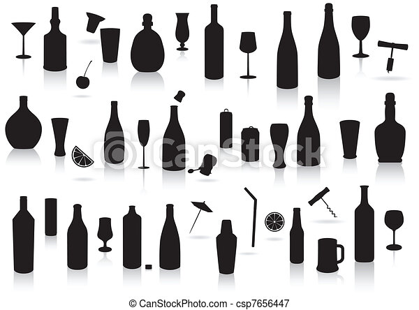 Party drinks silhouette set. - csp7656447