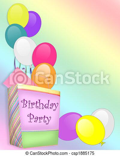 party, geburstag, hintergrund, einladung - csp1885175