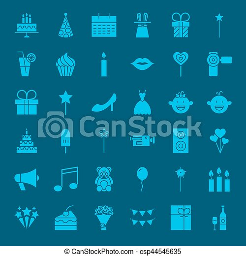 Party Glyphs Website Icons Vector Set Of Happy Birthday Symbols
