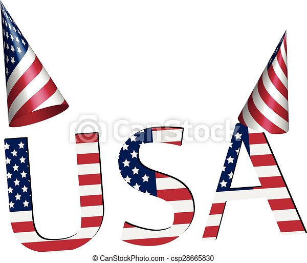party hat and usa 3d independence day clip art independence rh canstockphoto com independence day clipart india independence day clip art black and white