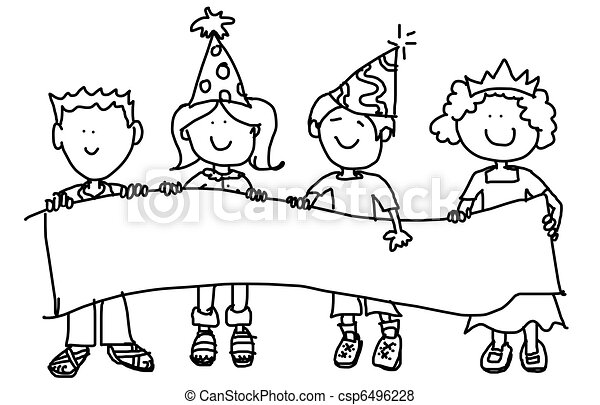 Party Hat Kids With Banner Stock Illustration