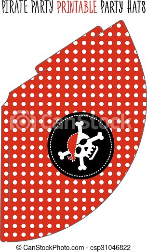 picture regarding Pirate Party Printable referred to as Get together hat printable. Pirate concept occasion