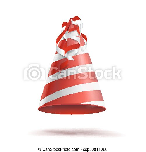 party hat vector classic red white striped craft birthday clip rh canstockphoto com birthday hat vector png birthday hat vector image