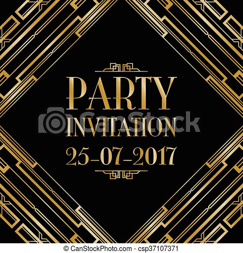 party invitation art deco - csp37107371