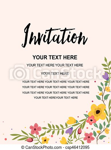 Party Invitation Card Template Colorful Floral Illustration Vector Creative Design
