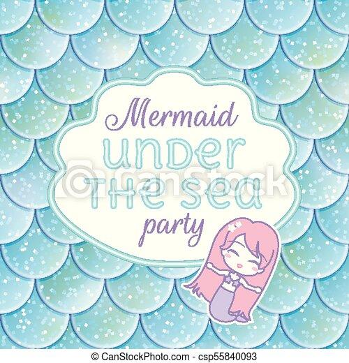 Party invitation. glittered fish scales, kawaii mermaid stiker and ...