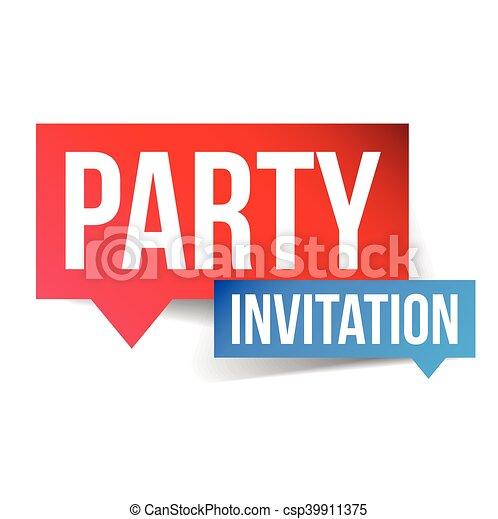 Party invitation label sign vectors illustration search clipart party invitation label sign csp39911375 stopboris Images